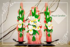 Set of carved candles handmade White irises от RoyalCarvedCandles