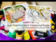 ▶ 【Gelliplate Printing & 2 Artjournal Pages】 - YouTube