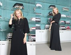 """Friday, October 30 """"Trick or Chic-go with a stylish black gown with sequin details and a dramatic tie front for a pre-Halloween look that's so good it's scary."""" -Lubov Azria"""