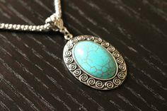 Turquoise Necklace Choker Fashion Jewelry Vintage Jewelry Boho Necklace Pendants