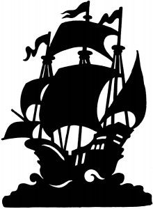Ship silhouette could be made of paper or board and hung from the ceiling or made as a table decoration.