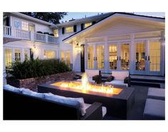 Kriste Michelini Interiors - decks/patios - French doors outdoor fireplace black modern outdoor furniture Fantastic outdoor living space with House, Outdoor Patio Furniture, French Doors, Home, Outdoor Living, House Exterior, House Styles, Outdoor Fireplace, Modern Outdoor Furniture