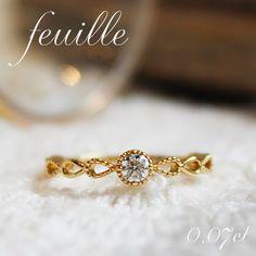 ★GINGER掲載★K18 天然ダイヤ 0.07ct ミル打ち 一粒ピンキーリング【送料無料】【特別価格】【SIクラス相当】【あす楽対応】【楽ギフ_包装】指輪/ring/透かし/雫/しずく/18金/18k/ゴールド/1粒/華奢/レディース/mesanges/メザンジュ Gold Pinky Ring, Gold Rings, Fashion Rings, Wedding Rings, Rose Gold, Jewels, Engagement Rings, Accessories, Enagement Rings