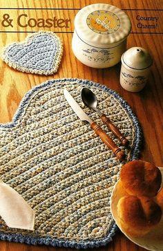 X873 Crochet PATTERN ONLY Heart Placemat & Coaster Set Black Friday Etsy. $1.95, via Etsy.