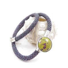 Beads crochet rope necklace with sterling silver and jasper , metalwork , green purple