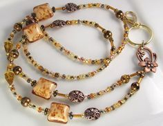 Beaded Lanyards   Beaded Lanyard CARAMEL CANDY Glass ID Badge Holder by curlynetto