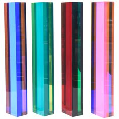 Set of Four Signed Vintage Vasa Column Lucite Tower Sculptures