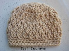 Crochet Hat PATTERN Faux Cable Crochet Beanie PDF by PoshPatterns, $3.99