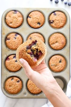 These Gluten-Free, Dairy-Free, Blueberry Oatmeal Muffins are insanely good. So moist, and lightly sweetened, studded with blueberries in every bite!