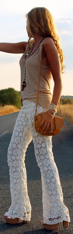 I LOVE these lace summer pants!  Women's street style fashion