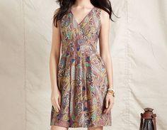 Tommy Hilfiger Dress, Sleeveless Paisley Print V-Neck Cotton A-Line NwT Ladies #TommyHilfiger #SleevelessPaisleyPrintVNeckCottonALine #Casual
