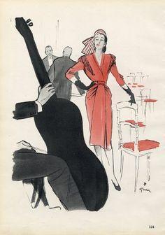 Jean Patou 1946 René Gruau Fashion Illustration