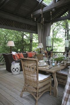 rustic covered porch... I can SO do this on my porch!