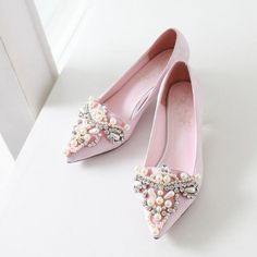 Womens Fashion Rhinestone Beaded Pointed Toe Thick Heel Pumps on Luulla