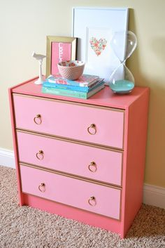 Give a plain dresser a makeover with shades of pink + gold.
