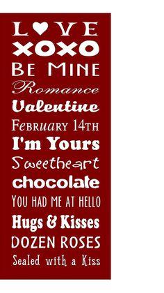 Valentine subway art - Vinyl Lettering only. $14.00, via Etsy.