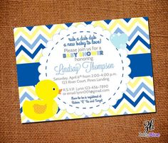 Rubber Duck Boy Printable Baby Shower Invitation (Ducky / Duckie Blue Yellow White Chevron Stripes)- Digital File