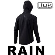 MEN/'S HUK BREAKER OFFSHORE SHELL JACKET BLACK WATER REPEL H4000057-001 L 2XL 3XL