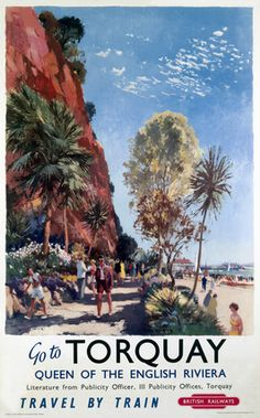 An poster sized print, approx mm) (other products available) - British Railways (Western Region) poster, Artwork by Jack Merriott. <br> - Image supplied by National Railway Museum - poster sized print mm) made in the UK British Travel, British Seaside, Train Posters, Railway Posters, Torquay Devon, British Holidays, National Railway Museum, Seaside Beach, By Train
