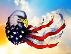 Eagle Painting - Patriotic Eagle by Andrew Read Patriotische Tattoos, Eagle Tattoos, Wing Tattoos, Celtic Tattoos, Sleeve Tattoos, Dojo, Patriotic Pictures, Eagle Pictures, Eagle Painting