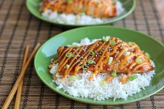 Teriyaki Salmon with Sriracha Cream Sauce - An easy dish with homemade teriyaki sauce and a sweet and spicy Sriracha cream sauce! - ehhh it was okay... Guess we aren't big fans of teriyaki...