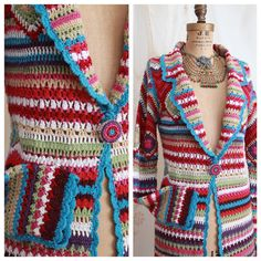 Vintage Crochet Sweater Coat / Boho / Hippie / Long Cardigan / Knit Sweater / Size Large