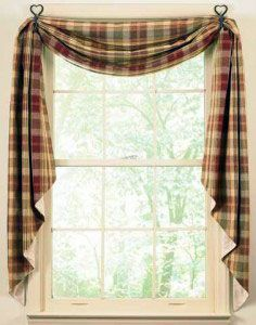 "Country Kitchen Curtains this style but with added ""cafe"" curtain and in colour to go with the scheme."