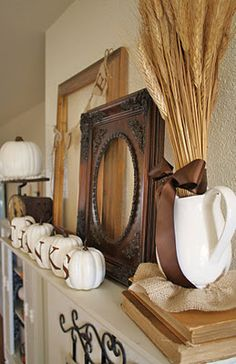 Give Thanks mantle via @Courtney Baker Carmean (A Diamond in the Stuff)...love the white pumpkins!