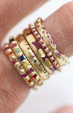 I would die to have this stack!!! // Polly Wales sapphire & ruby encrusted stacking rings