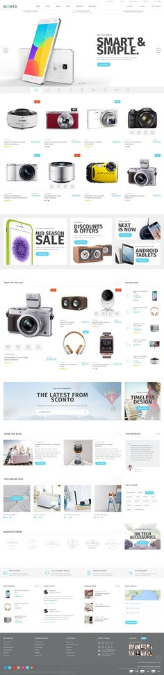 Sconto Responsive eCommerce PSD Template Download for Multipurpose online store. It has 10 stunning layouts. #electronics #mobileshop #website