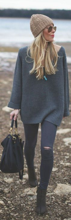 Look de inverno com gorro de lã