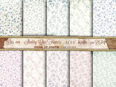 Digital Paper Romantic SHABBY CHICH with Flower by DreamUpGraphic