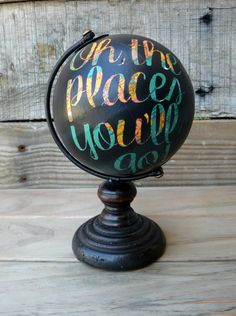 Mini Black Hand-Painted Globe - Oh, the places you'll go! Mini Black Hand-Painted Globe - Oh, th Painted Globe, Hand Painted, Globe Crafts, Globe Art, Arts And Crafts, Diy Crafts, Grad Parties, Birthday Parties, Travel Themes