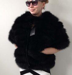 Bolero jacket coat fur arctic fox Blue