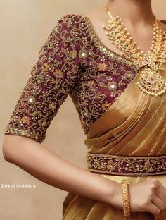Cutwork Blouse Designs, Wedding Saree Blouse Designs, Half Saree Designs, Fancy Blouse Designs, Blouse Neck Designs, Blouse Patterns, Saree Wedding, Bengali Wedding, Telugu Wedding
