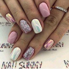 Super cute nails, manicures, nail designs, and nail art! Fancy Nails, Love Nails, Trendy Nails, Pink Nails, Pink White Nails, Super Nails, Gorgeous Nails, Perfect Nails, Winter Nails