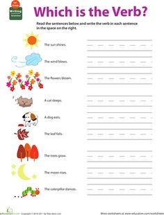 Lots of free printable worksheets for all subjects/grades. First Grade Worksheets, Grammar Worksheets, Worksheets For Kids, Printable Worksheets, Free Printables, First Grade Homework, First Grade Reading, Verbs For Kids, Learning English For Kids