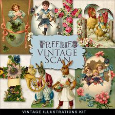 Far Far Hill - Free database of digital illustrations and papers: Freebies Vintage Easter Vignettes