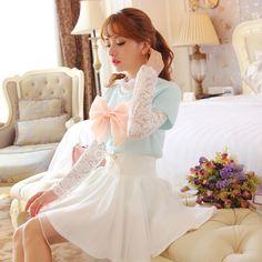 公主家2014秋裝新款甜美可愛大蝴蝶結短袖套頭中長款兔毛針織衫女-淘寶網