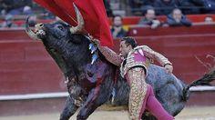 Rafaelillo, en un pase de pecho con un imponente toro de Miura.