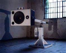 Speaker, hydraulics, sensors and an engine. Edwin van der Heide - Spatial Sounds (100dB at 100km/h) http://www.evdh.net/spatial_sounds/