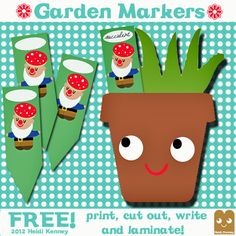 Garden Marker Gnomes by Heidi Kenney free printable Plant Markers, Garden Markers, Fun Crafts, Crafts For Kids, Paper Crafts, Craft Tutorials, Craft Ideas, Gnome Garden, Creative Activities