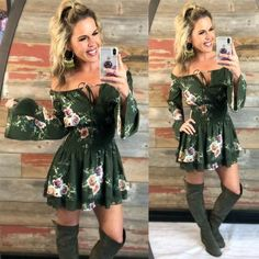 Save it for Another Time Floral Romper: Olive Country Style Dresses, Country Style Outfits, Cute Country Clothes, Country Fashion, Girl Outfits, Cute Outfits, Fashion Outfits, Summer Outfits, Cowgirl Dresses