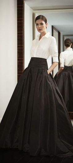 taffeta skirt, simple white shirt. fabulous.