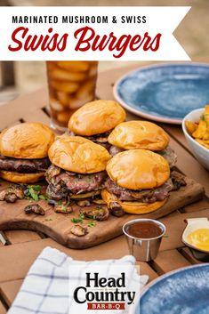 Marinated Mushroom And Swiss Burgers