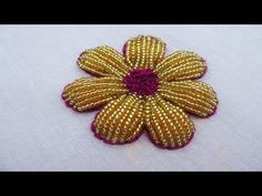 Hand Embroidery Beads Work, Beads Flower Embroidery Tutorial - YouTube Ribbon Embroidery Tutorial, Embroidery Neck Designs, Hand Embroidery Videos, Hand Embroidery Flowers, Embroidery Flowers Pattern, Embroidery Motifs, Creative Embroidery, Simple Embroidery, Beaded Embroidery