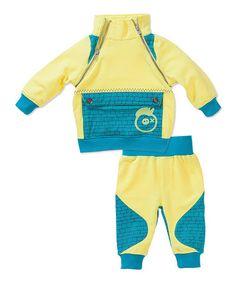 Loving this Yellow & Blue Zip Sweatshirt & Bottoms - Infant on #zulily! #zulilyfinds