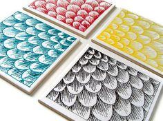 Modern Ceramic Coasters Set Tiles Scallops Scales от sewZinski