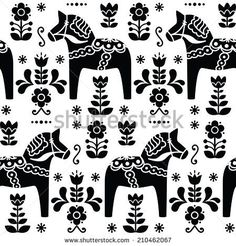 Swedish folk art Dala or Daleclarian horse seamless pattern in ...