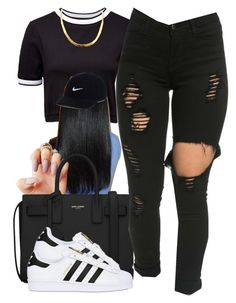 """YouTube: @Lightscamerasylvie"" by trillest-fashion on Polyvore featuring French Connection, Yves Saint Laurent, adidas Originals and NIKE"